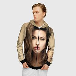 Толстовка 3D на молнии мужская Анжелина Джоли цвета 3D-черный — фото 2