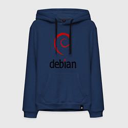 Толстовка-худи хлопковая мужская Debian цвета тёмно-синий — фото 1