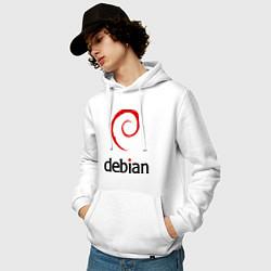 Толстовка-худи хлопковая мужская Debian цвета белый — фото 2