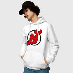 Толстовка-худи хлопковая мужская New Jersey Devils цвета белый — фото 2