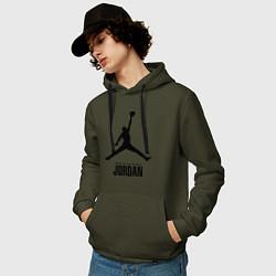 Толстовка-худи хлопковая мужская Jordan Style цвета хаки — фото 2