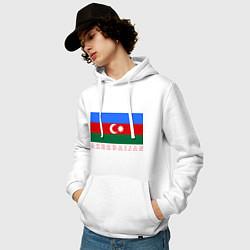 Толстовка-худи хлопковая мужская Азербайджан цвета белый — фото 2