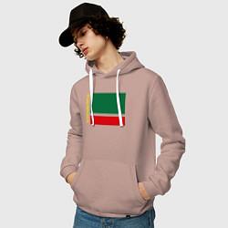 Толстовка-худи хлопковая мужская Чечня: флаг цвета пыльно-розовый — фото 2