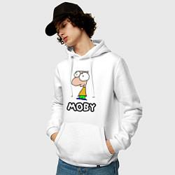 Толстовка-худи хлопковая мужская Moby цвета белый — фото 2