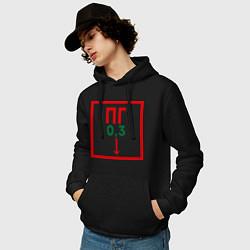 Толстовка-худи хлопковая мужская Пожарный гидрант цвета черный — фото 2