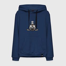Толстовка-худи хлопковая мужская Edmonton Oilers Hockey цвета тёмно-синий — фото 1