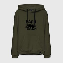 Толстовка-худи хлопковая мужская Papa Roach цвета хаки — фото 1