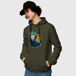 Толстовка-худи хлопковая мужская Rabbit magician цвета хаки — фото 2