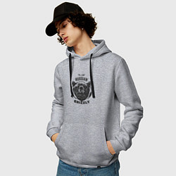 Толстовка-худи хлопковая мужская Russian Grizzly цвета меланж — фото 2
