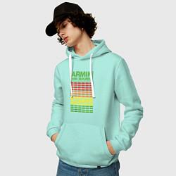 Толстовка-худи хлопковая мужская Armin van Buuren: EQ цвета мятный — фото 2