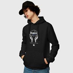 Толстовка-худи хлопковая мужская Fragile Express цвета черный — фото 2