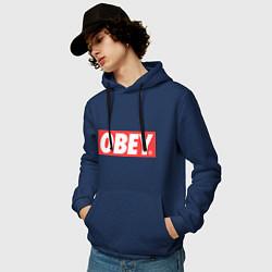 Толстовка-худи хлопковая мужская OBEY Logo цвета тёмно-синий — фото 2