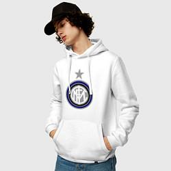 Толстовка-худи хлопковая мужская Inter FC цвета белый — фото 2