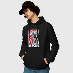Толстовка-худи хлопковая мужская Godzilla Poster цвета черный — фото 2