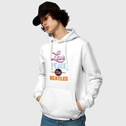 Толстовка-худи хлопковая мужская Love peace the Beatles цвета белый — фото 2