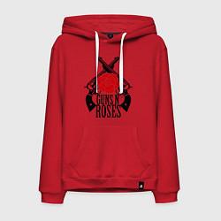 Толстовка-худи хлопковая мужская Guns n Roses: guns цвета красный — фото 1