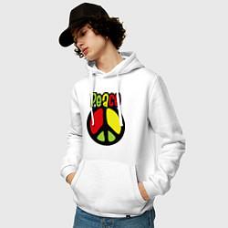 Толстовка-худи хлопковая мужская Peace tricolor цвета белый — фото 2