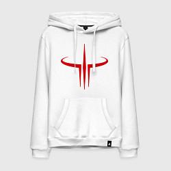 Толстовка-худи хлопковая мужская Quake logo цвета белый — фото 1