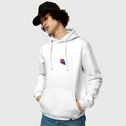 Толстовка-худи хлопковая мужская Армения цвета белый — фото 2