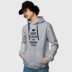 Толстовка-худи хлопковая мужская Keep Calm & Drink Tea цвета меланж — фото 2
