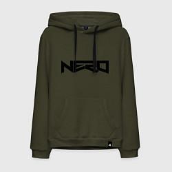 Толстовка-худи хлопковая мужская Nero цвета хаки — фото 1