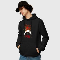 Толстовка-худи хлопковая мужская Gojira: Evil Demon цвета черный — фото 2
