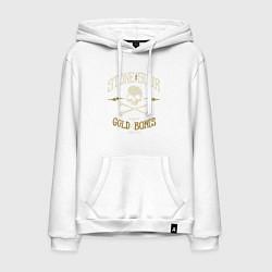 Толстовка-худи хлопковая мужская Stone Sour: Gold Bones цвета белый — фото 1
