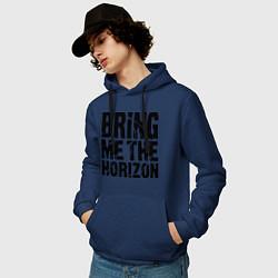 Толстовка-худи хлопковая мужская Bring me the horizon цвета тёмно-синий — фото 2