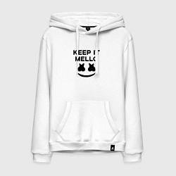 Толстовка-худи хлопковая мужская Keep it Mello цвета белый — фото 1