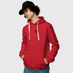 Толстовка-худи хлопковая мужская KIA цвета красный — фото 2
