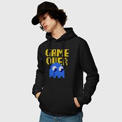 Толстовка-худи хлопковая мужская Pac-Man: Game over цвета черный — фото 2