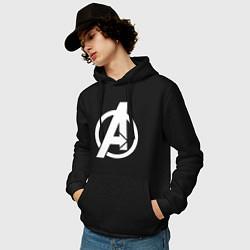 Толстовка-худи хлопковая мужская Avengers Symbol цвета черный — фото 2