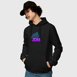 Толстовка-худи хлопковая мужская JDM цвета черный — фото 2