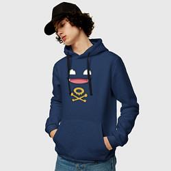Толстовка-худи хлопковая мужская Коффинг цвета тёмно-синий — фото 2