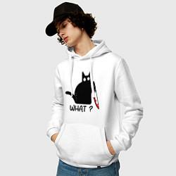 Толстовка-худи хлопковая мужская What cat цвета белый — фото 2