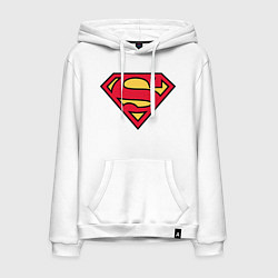 Толстовка-худи хлопковая мужская Superman logo цвета белый — фото 1