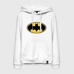 Толстовка-худи хлопковая мужская Batman цвета белый — фото 1