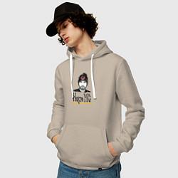 Толстовка-худи хлопковая мужская Noize MC цвета миндальный — фото 2