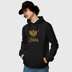 Толстовка-худи хлопковая мужская THE LEGEND OF ZELDA цвета черный — фото 2