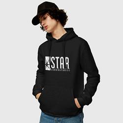Толстовка-худи хлопковая мужская S T A R Labs цвета черный — фото 2