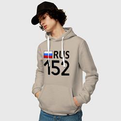 Толстовка-худи хлопковая мужская RUS 152 цвета миндальный — фото 2