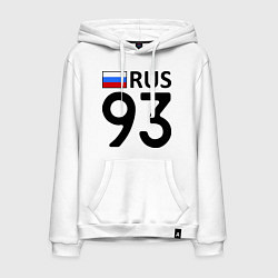 Толстовка-худи хлопковая мужская RUS 93 цвета белый — фото 1