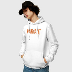 Толстовка-худи хлопковая мужская Variant цвета белый — фото 2