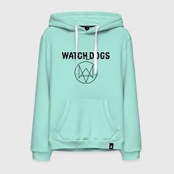 Толстовка-худи хлопковая мужская Watch Dogs цвета мятный — фото 1