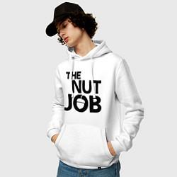 Толстовка-худи хлопковая мужская The nut job цвета белый — фото 2