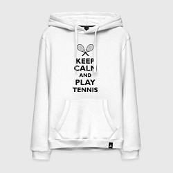 Толстовка-худи хлопковая мужская Keep Calm & Play tennis цвета белый — фото 1