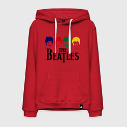 Толстовка-худи хлопковая мужская The Beatles Heads цвета красный — фото 1