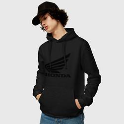 Толстовка-худи хлопковая мужская Honda Motor цвета черный — фото 2