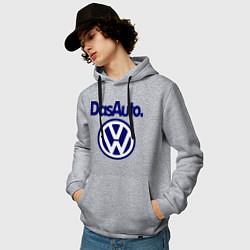 Толстовка-худи хлопковая мужская Volkswagen Das Auto цвета меланж — фото 2