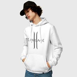 Толстовка-худи хлопковая мужская Lineage logo цвета белый — фото 2